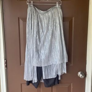 Metallic silver skirt